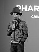 Pharrell Williams speaks during the press conference to announce Pharrell Wiliams' collaboration with Bionic Yarn and G-Star Raw at the Museum of Natural History in New York City, New York on February 08, 2014.