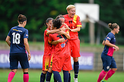 The players of Olimpia Cluj celebrate during the UEFA Women's Champions League Qualifying Match between ZNK Teleing Pomurje (SLO) and Olimpia Cluj (ROU) at Sportni Park on August 16, 2015 in Beltinci, Slovenia. Photo by Mario Horvat / Sportida
