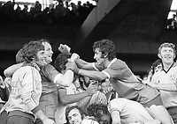 All Ireland Senior Football final 1976. Jubilation among the Dublin players after winning the Sam Maguire Cup. From left; Paddy Reilly, Jimmy Keaveny, Bobby Doyle, George Wilson and Kevin Moran. <br />