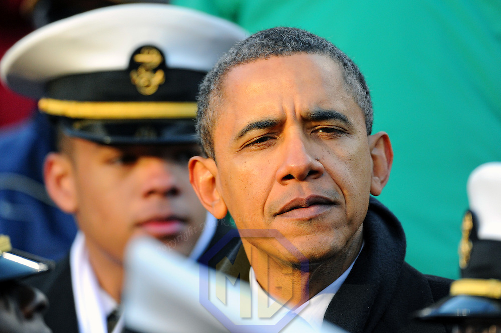 10 December 2011:    President Barack Obama attends the game between the Navy Midshipmen and the Army Black Knights at Fed Ex field in Landover, Md. in the 112th annual Army Navy game where Navy defeated Army, 27-21 for the 10th consecutive time.