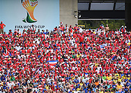 Fans of Costa Rica during the 2014 FIFA World Cup match at Itaipava Arena Pernambuco, Recife metropolitan area<br /> Picture by Stefano Gnech/Focus Images Ltd +39 333 1641678<br /> 20/06/2014