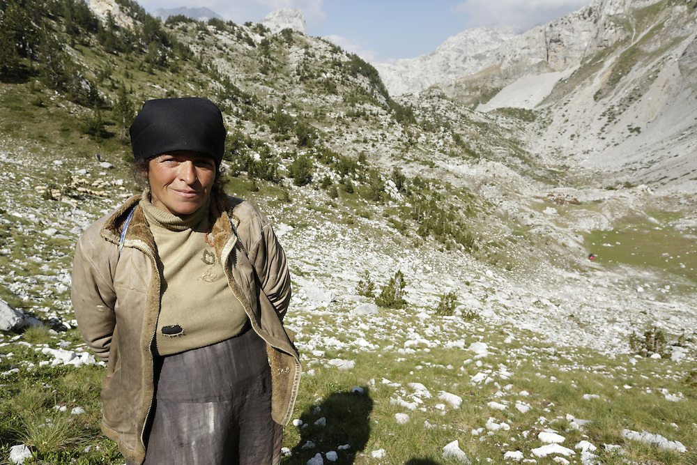 Shepherd woman, on the south approach to Maja Jezerce, Albania.