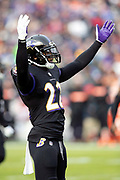 Baltimore Ravens cornerback Jimmy Smith (22) waves his arms as he fires up the fans during the NFL week 11 regular season football game against the Cincinnati Bengals on Sunday, Nov. 18, 2018 in Baltimore. The Ravens won the game 24-21. (©Paul Anthony Spinelli)
