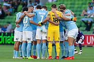 MELBOURNE, VIC - JANUARY 19: Melbourne City huddle before the match at the Hyundai A-League Round 14 soccer match between Melbourne City FC and Perth Glory at AAMI Park in VIC, Australia 19th January 2019. Image by (Speed Media/Icon Sportswire)