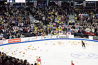 KELOWNA, BC - OCTOBER 26: Japanese fans show support for figure skater Yuzuru Hanyu during the men's long program / free skate of Skate Canada International held at Prospera Place on October 26, 2019 in Kelowna, Canada. (Photo by Marissa Baecker/Shoot the Breeze)