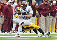 November 21, 2009: Minnesota fullback Jon Hoese (35) is hit by Iowa linebacker A.J. Edds (49) during the second half of the Iowa Hawkeyes 12-0 win over the Minnesota Golden Gophers at Kinnick Stadium in Iowa City, Iowa on November 21, 2009.