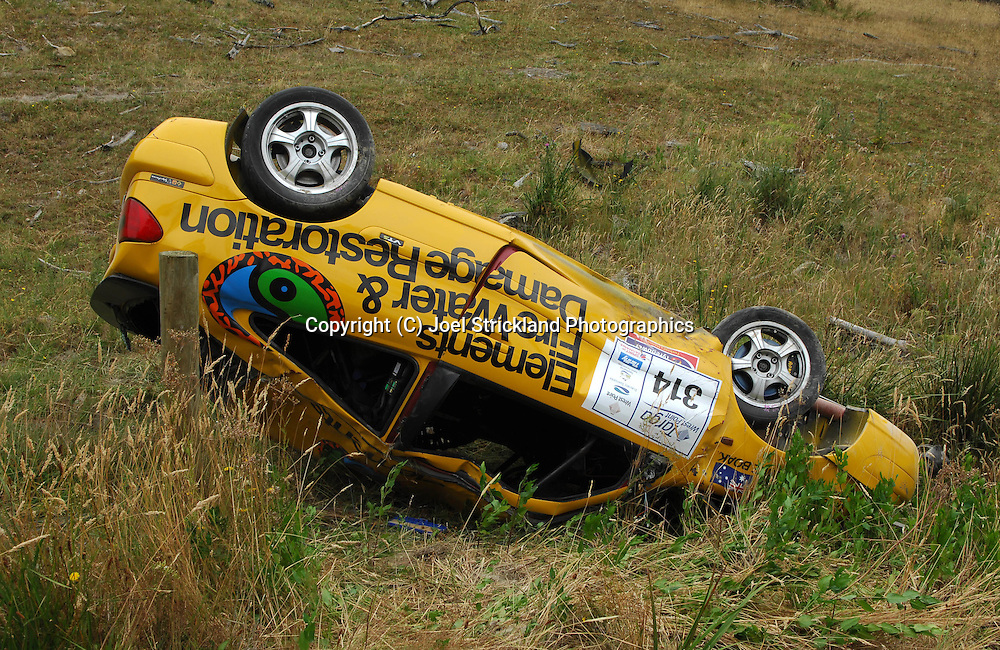 Owen & Christine Boak .2001 Citroen Xsara VTS.After their car rolled on the Dover stage. Both were taken to hospital but were released.Day 1.Targa Wrest Point 2009.Southern Tasmania.31st of January 2009.(C) Joel Strickland Photographics.
