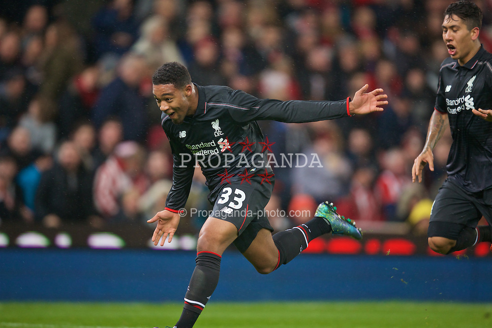 STOKE-ON-TRENT, ENGLAND - Tuesday, January 5, 2016: Liverpool's Jordon Ibe celebrates scoring the first goal against Stoke City during the Football League Cup Semi-Final 1st Leg match at the Britannia Stadium. (Pic by David Rawcliffe/Propaganda)