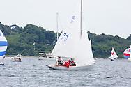 _V0A8090. ©2014 Chip Riegel / www.chipriegel.com. The 2014 Bullseye Class National Regatta, Fishers Island, NY, USA, 07/19/2014. The Bullseye is a Nathaniel Herreshoff designed 15' Marconi rig sailing boat.