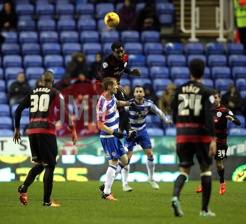 Leroy Fer of Queens Park Rangers heads the ball - Mandatory byline: Robbie Stephenson/JMP - 03/12/2015 - Football - Madejski Stadium - Reading, England - Reading v Queens Park Rangers - Sky Bet Championship