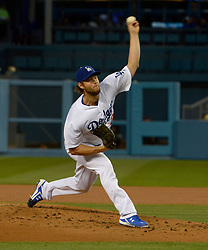 April 14, 2017 - Los Angeles, California, U.S. - Los Angeles Dodgers starting pitcher Clayton Kershaw throws to the plate against the Arizona Diamondbacks in the second inning of a Major League baseball game at Dodger Stadium on Friday, April 14, 2017 in Los Angeles. (Photo by Keith Birmingham, Pasadena Star-News/SCNG) (Credit Image: © San Gabriel Valley Tribune via ZUMA Wire)