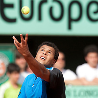 1 June 2009: Jo Tsonga of France serves during the Men's Single Fourth Round match on day nine of the French Open at Roland Garros in Paris, France.
