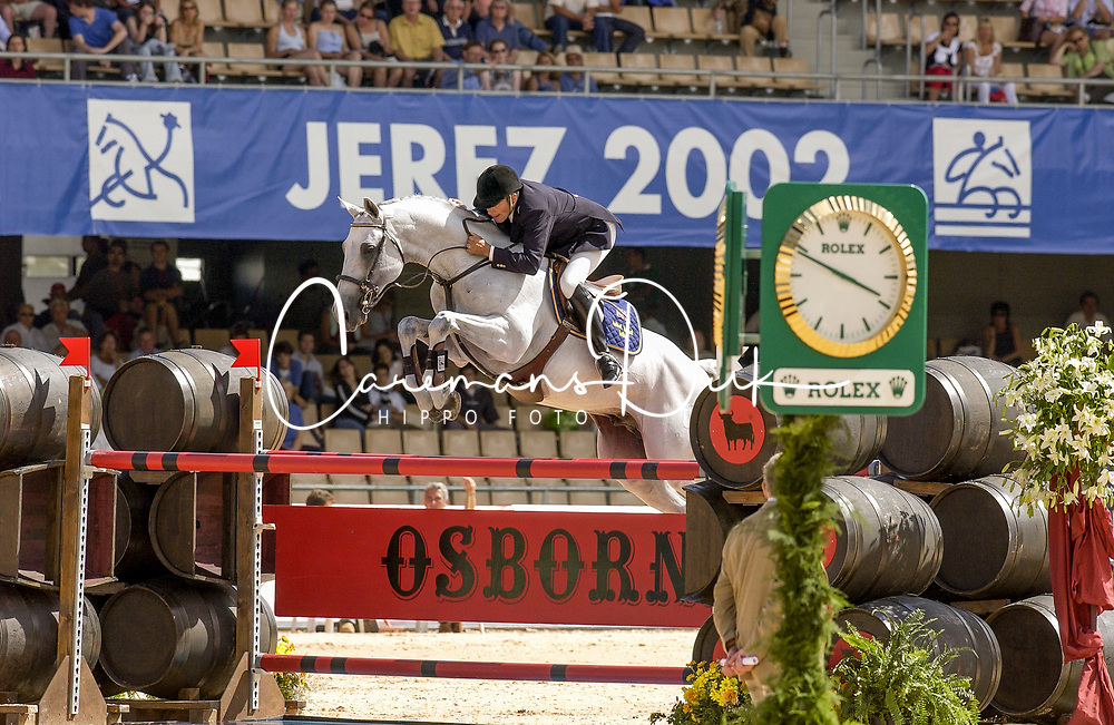 Eriksson Peter, SWE, VDL Cardento<br /> Jumping day 1<br /> World Equestrian Games Jerez de la Fronteira 2002<br /> Photo © Dirk Caremans