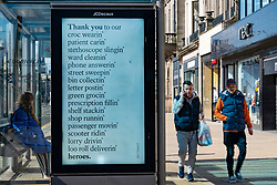Edinburgh, Scotland, UK. 8 April 2020. Images from Edinburgh during the continuing Coronavirus lockdown. Pictured; Video screen thanking key workers during the coronavirus crisis.  Iain Masterton/Alamy Live News.