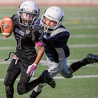 110114       Cable Hoover<br /> <br /> Cowboy Hunter Maxey (32) chases down Hawk quarterback John Valles (7) during the TDFL championship Saturday at Ford Canyon Park in Gallup.