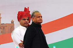 December 17, 2018 - Jaipur, Rajasthan, India - New Rajasthan Chief Minister Ashok Gehlot and Deputy Chief Minister Sachin Pilot during the swearing-in ceremony, at Albert Hall in Jaipur, Rajasthan ,India , Monday, Dec 17, 2018.(Photo By Vishal Bhatnagar/NurPhoto) (Credit Image: © Vishal Bhatnagar/NurPhoto via ZUMA Press)