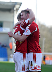 Bristol City's Scott Wagstaff celebrates his goal his goal with Bristol City's Simon Gillett - Photo mandatory by-line: Dougie Allward/JMP - Mobile: 07966 386802 22/03/2014 - SPORT - FOOTBALL - Colchester - Colchester Community Stadium - Colchester United v Bristol City - Sky Bet League One