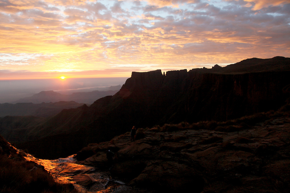 Sunrise at the top Tugela Falls on the top of the Amphitheatre in the Drakensberg mountains. Royal Natal National Park. Kwa-Zulu Natal, South Africa..© Zute Lightfoot www.lightfootphoto.com