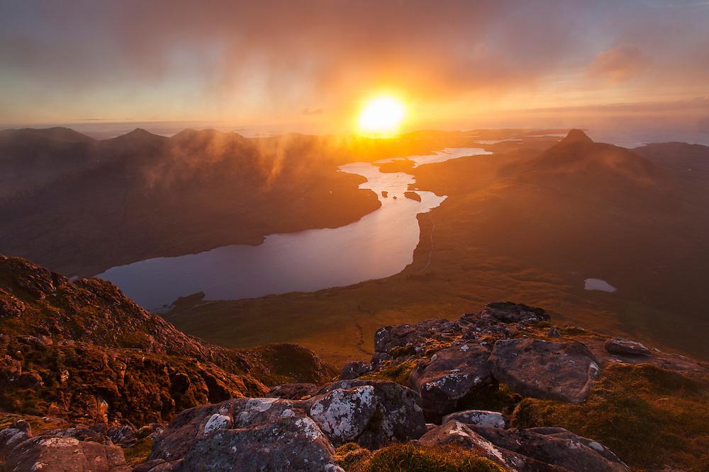 Loch Lurgainn and Stac Pollaidh at sunset, Assynt, Scotland