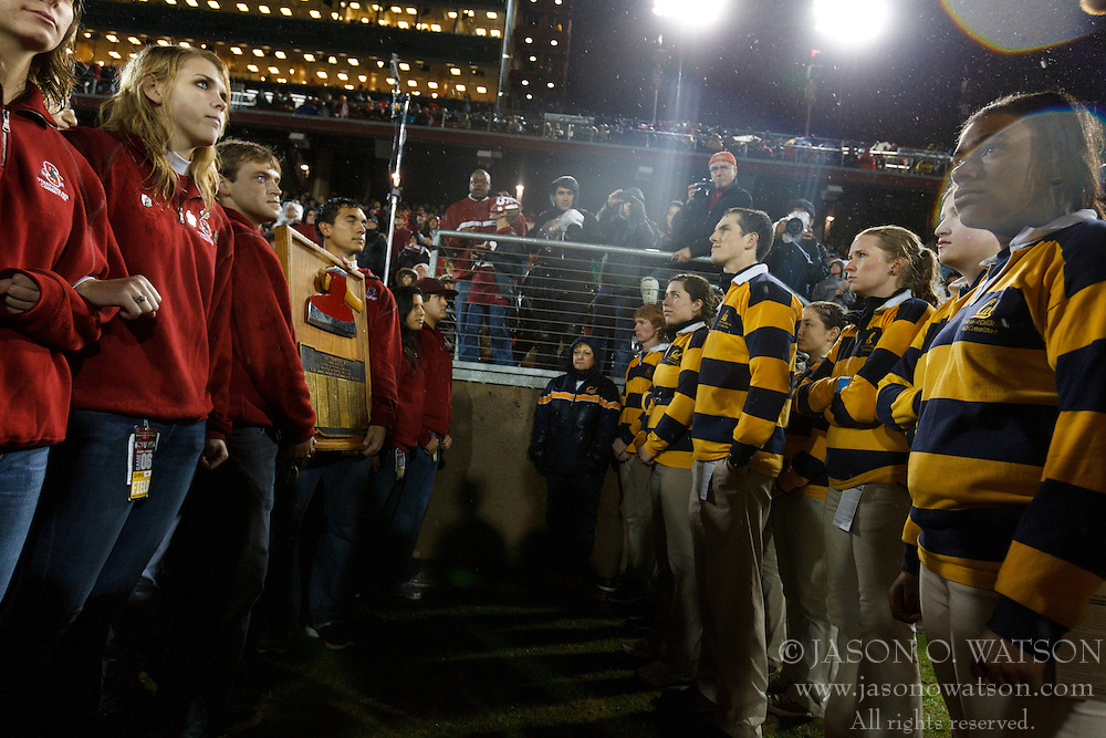 Nov 19, 2011; Stanford CA, USA;  Stanford Cardinal students hold the Stanford axe across from California Golden Bears students during the fourth quarter at Stanford Stadium.  Stanford defeated California 31-28. Mandatory Credit: Jason O. Watson-US PRESSWIRE
