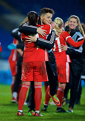 CARDIFF, WALES - Friday, November 24, 2017: Wales' Grace Horrell and Natasha Harding after the FIFA Women's World Cup 2019 Qualifying Round Group 1 match between Wales and Kazakhstan at the Cardiff City Stadium. (Pic by David Rawcliffe/Propaganda)