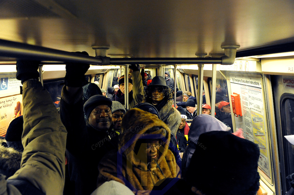 Passengers fill a Washington Metro subway car at 4:34AM  to ride into Washington, D.C. for the inauguration of Barack Obama as he is sworn in as the 44th President of the United States of America on Capitol Hill in Washington on January 20, 2009.    (Mark Goldman/ Goldmine Photos)