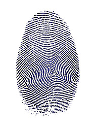 Detailed finger print blue ink