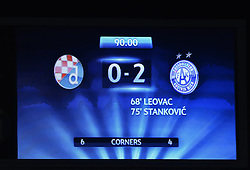 21.08.2013, Maksimir Stadion, Zagreb, CRO, UEFA CL Qualifikation, GNK Dinamo Zagreb vs FK Austria Wien, Hinspiel, im Bild Anzeigentafel mit dem Entstand 0:2 in Zagreb // Display with the final standing 0:2 in Zagreb // during the UEFA Champions League, Qualification first leg match between GNK Dinamo Zagreb and FK Austria Wien at Maksimir Stadium in Zagreb, Croatia on 2013/08/21. EXPA Pictures © 2013, PhotoCredit: EXPA/ Pixsell/ Marko Lukunic<br /> <br /> ***** ATTENTION - for AUT, SLO, SUI, ITA, FRA only *****