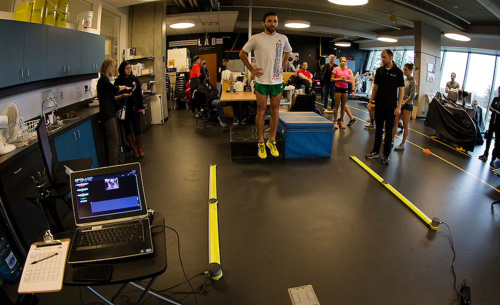 Guillaume Ouellet reactives strength index is tested with a drop jump to measure neuromuscular explosiveness and tendon stiffness at the Pacific Institute for Sport Excellence on December 3rd, 2015 in Victoria, British Columbia Canada.