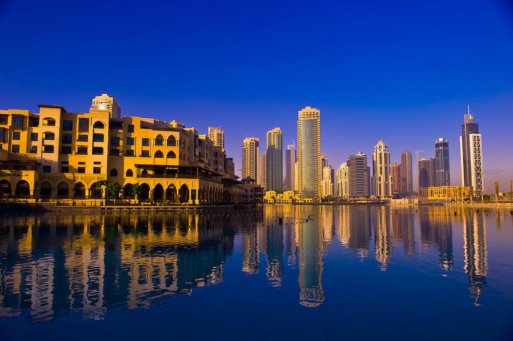 View of the area surrounding the Burj Khalifa, the tallest building in the world in downtown Dubai, Dubai, United Arab Emirates