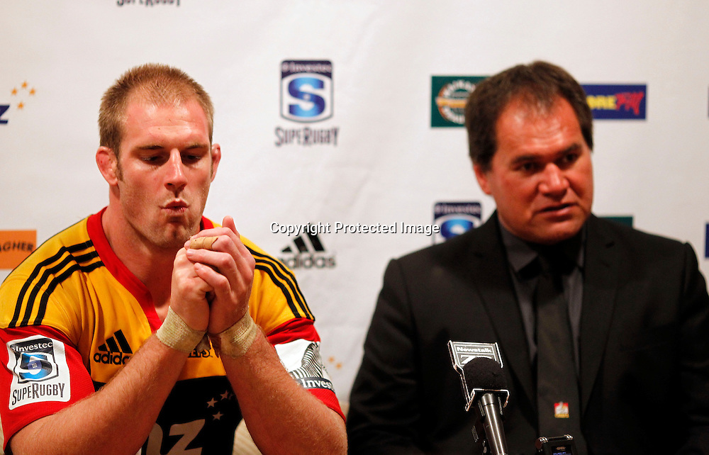 Chiefs captain Craig Clarke and coach Dave Rennie during the press conference. Super 15 Rugby, Chiefs v Lions, Growers Stadium Pukekohe, Saturday 5th May 2012. Photo: Shane Wenzlick / www.photosport.co.nz