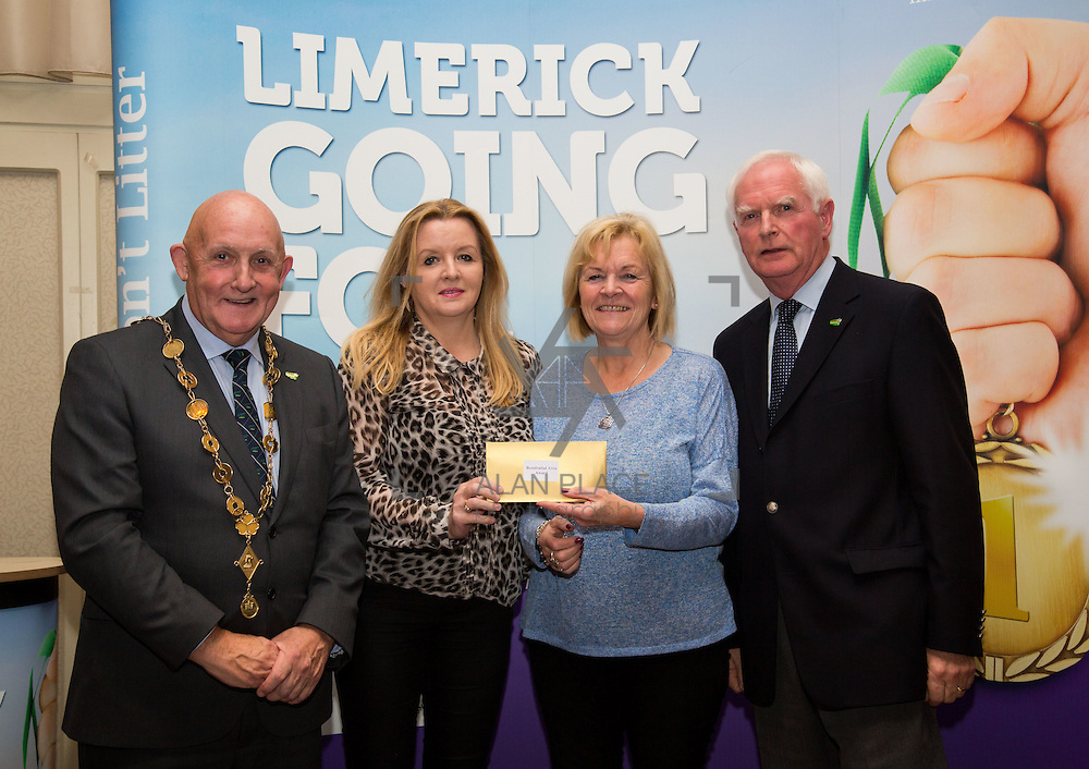 11.10.2016         <br /> The West of Limerick is awake and celebrating after Glin was announced as overall winner of Limerick Going for Gold 2016.<br /> Mayor of Limerick Cllr. Kieran O'Hanlon and Gerry Boland, JP McManus Foundation present Estates/Residential Areas in Limerick 2nd place Award to Caherdavin. Picture: Alan Place
