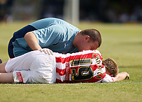 Photo: Chris Ratcliffe.<br />Southend United v Stoke City. Coca Cola Championship.<br />05/08/2006.<br />Luke Chadwick of Stoke receives treatment before being stretchered off.