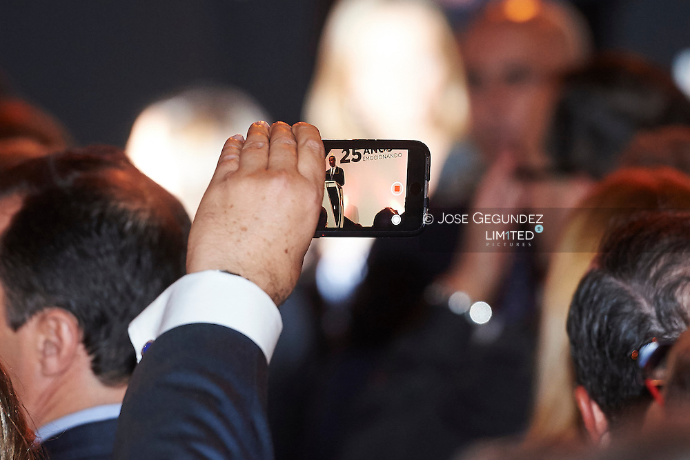 King Felipe VI of Spain attended to Antena3's 25th anniversary party at Palacio de Cibeles on January 29, 2015 in Madrid