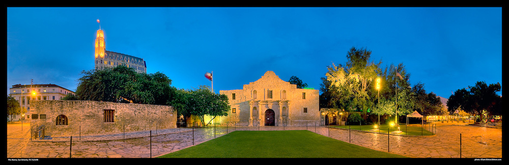 Panoramic photograph of The Alamo in San Antonio, Texas. Print Size (in inches): 15x5; 24x7.5; 36x11.5; 48x15; 60x19; 72x23