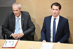 "27.05.2019, Hofburg, Wien, AUT, Sondersitzung des Nationalrates, Sitzung des Nationalrates aufgrund des Misstrauensantrags der Liste JETZT, FPOE und SPOE gegen Bundeskanzler Sebastian Kurz (OeVP) und die Bundesregierung, im Bild v.l. Innenminister Eckart Ratz, Sebastian Kurz (ÖVP) // during special meeting of the National Council of austria due to the topic ""motion of censure against the federal chancellor Sebastian Kurz (OeVP) and the federal government"" at the Hofburg in Wien, Austria on 2019/05/27. EXPA Pictures © 2019, PhotoCredit: EXPA/ Lukas Huter"