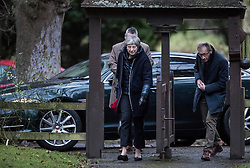 © Licensed to London News Pictures. 28/01/2018. Sonning, UK. British prime minister THERESA MAY arrives for a morning church service with her husband PHILIP MAY - near her constituency home. Photo credit: Peter Macdiarmid/LNP