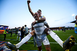 Regan Poole and David Pipe of Newport County celebrate winning through to the Sky Bet League Two Playoff Final - Mandatory by-line: Robbie Stephenson/JMP - 12/05/2019 - FOOTBALL - One Call Stadium - Mansfield, England - Mansfield Town v Newport County - Sky Bet League Two Play-Off Semi-Final 2nd Leg