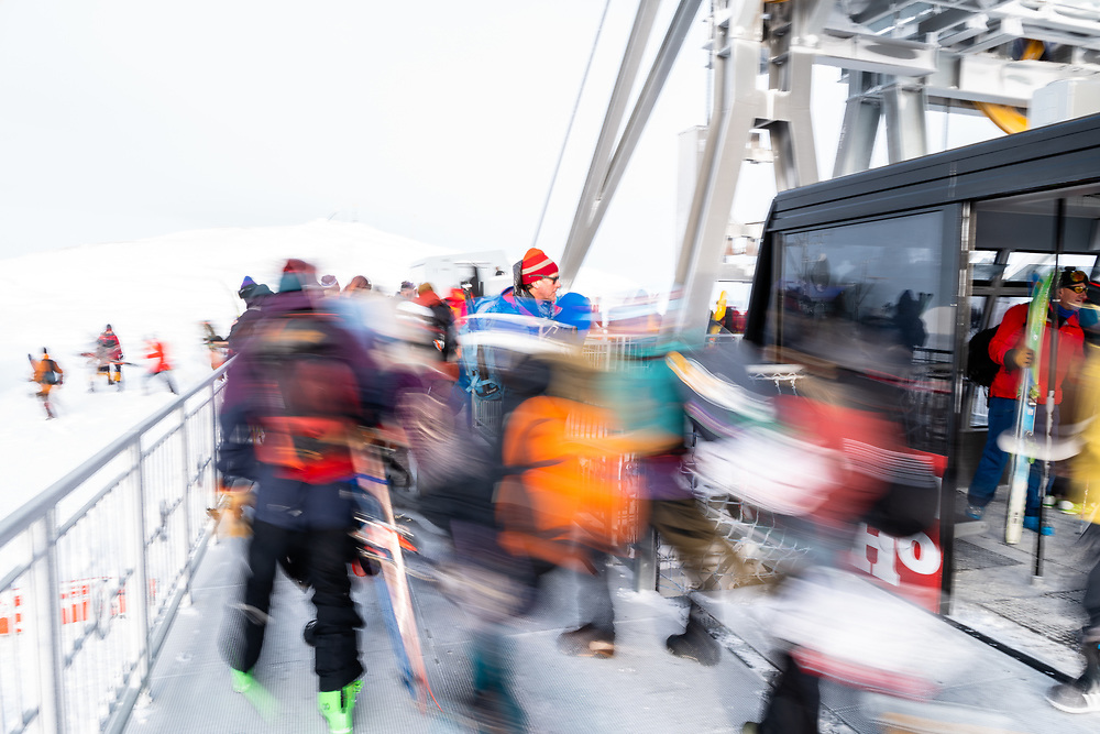 Competitors exit the tram headed towards the second annual Kings + Queens of Corbet's event.