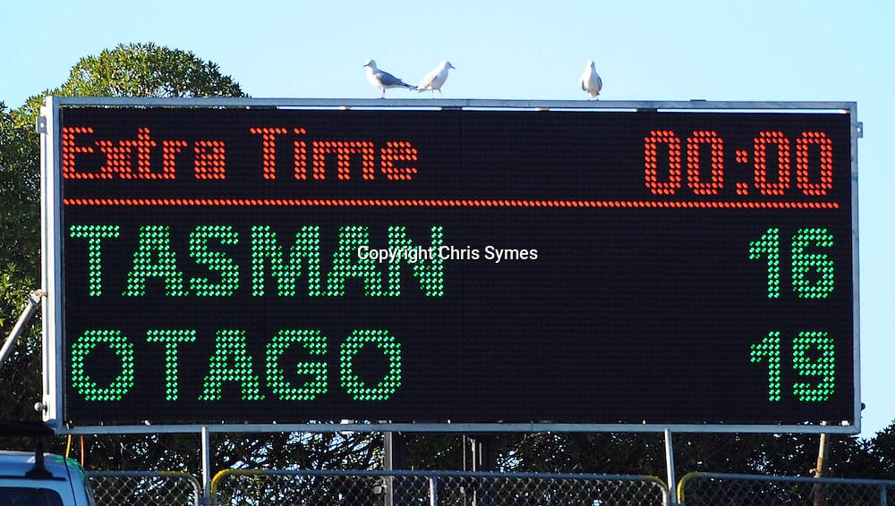 Final score. ITM Cup game Tasman Makos v Otago. Trafalgar Park, Nelson, New Zealand. Sunday 21 August 2011. Photo: Chris Symes/www.photosport.co.nz