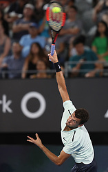 SYDNEY, Jan. 8, 2018  Grigor Dimitrov of Bulgaria serves during the FAST4 of Sydney International against Lleyton Hewitt of Australia in Sydney, Australia, on Jan. 8, 2018. Dimitrov won 2-0. (Credit Image: © Bai Xuefei/Xinhua via ZUMA Wire)