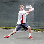 Arthur Peller, from Cincinnati competes in the first set of the finals in the 41st Weston Memorial Tennis Tournament at the Virginia Hollinger Memorial Tennis Club, Monday, May 26, 2008.  He went on to defeat Ross Wilson 6-4, 6-1.