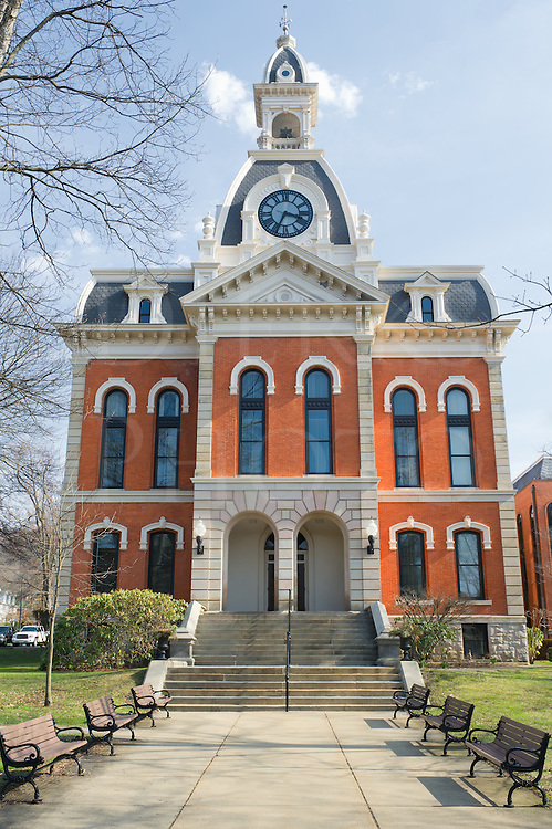 Courthouse building with clock tower in fancy 1800's Victorian architectural style, county government offices in Ridgway, Pennsylvania, PA, USA.