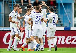 Players of Maribor celebrate after scoring second goal during football match between NK Triglav Kranj and NK Maribor in Round #7 of Prva liga Telekom Slovenije 2018/19, on September 2, 2018 in Kranj, Slovenia. Photo by Vid Ponikvar / Sportida