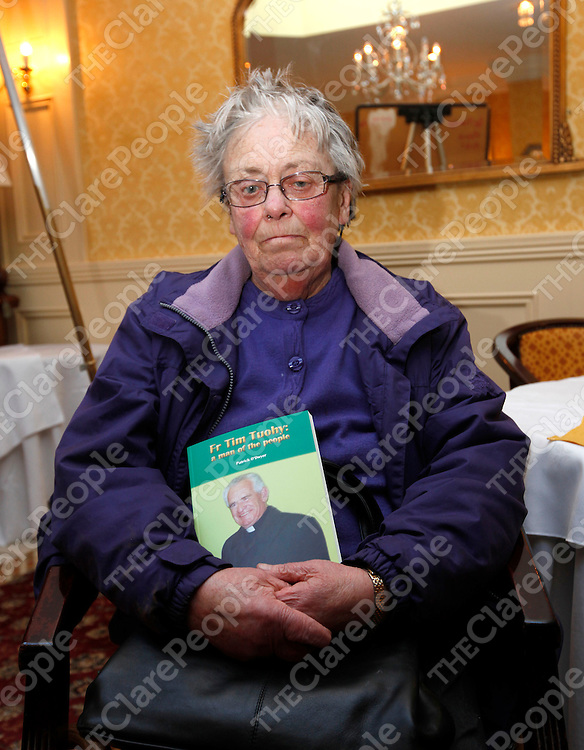 "12/4/13 Pictured attending the launch of the book "" Fr Tim Tuohy - A Man of the People "" in the Bellbridge Hotel in Spanish Point is Kitty Griffin. Pic Tony Grehan / Press 22"