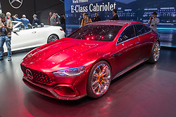 Mercedes AMG GT Concept hybrid car at 87th Geneva International Motor Show in Geneva Switzerland 2017