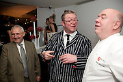 TREVOR GULLIVER; FERGUS HENDERSON; MARK EDWARDS, The Tomodachi ( Friends) Charity Dinner hosted by Chef Nobu Matsuhisa in aid of the Unicef  Japanese Tsunami Appeal. Nobu Berkeley St. London. 5 May 2011. <br /> <br />  , -DO NOT ARCHIVE-© Copyright Photograph by Dafydd Jones. 248 Clapham Rd. London SW9 0PZ. Tel 0207 820 0771. www.dafjones.com.