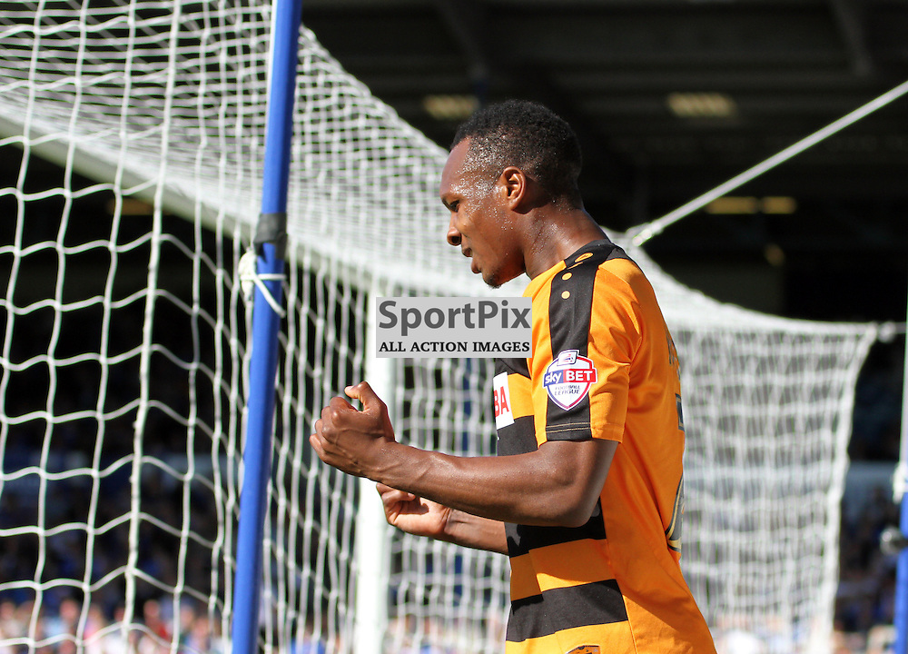 Gavin Hoyte shows his frustration During Portsmouth vs Barnet on Saturday 12th September 2015.