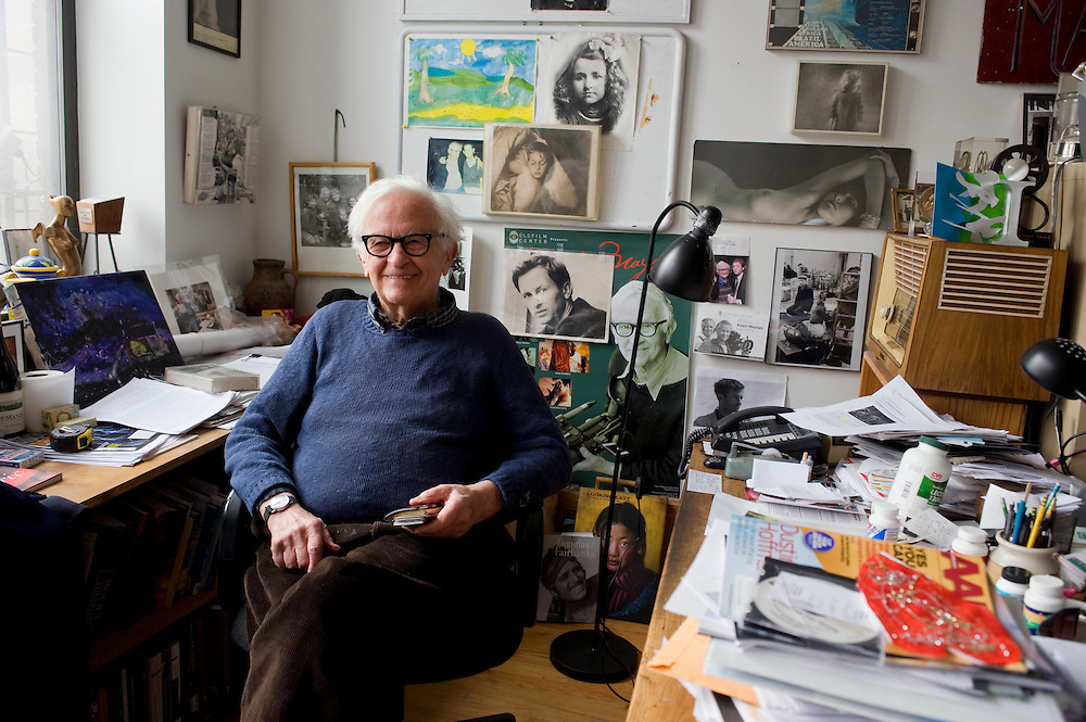Cinematographer Albert Maysles at his Harlem office. ..Albert Maysles and his brother David Maysles became famous for their documentary films like Grey Gardens, Salesman, Meet Marlon Brando and Gimme Shelter, the landmark documentary about the Rolling Stones on their notorious 1969 US tour. The Maysles Brothers also collaborated with Christo and Jeanne-Claude on many of their films. Today Albert Maysles works on new projects with the help of his daughters Sara and Rebekah Maysles. The company, named Maysles Films, is located in Harlem...©Stefan Falke.