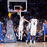 09 November 2017: Denver Nuggets center Nikola Jokic (15) goes for the layup during the Denver Nuggets 102-94 victory over the Oklahoma City Thunder, at the Pepsi Center, Denver, Colorado, USA.